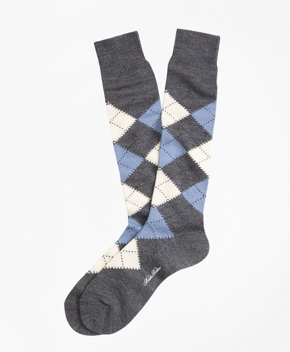 Argyle Over-the-Calf Socks Dark Grey
