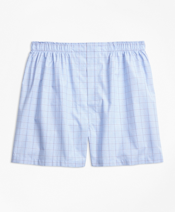 Traditional Fit Glen Plaid Boxers Blue-Green