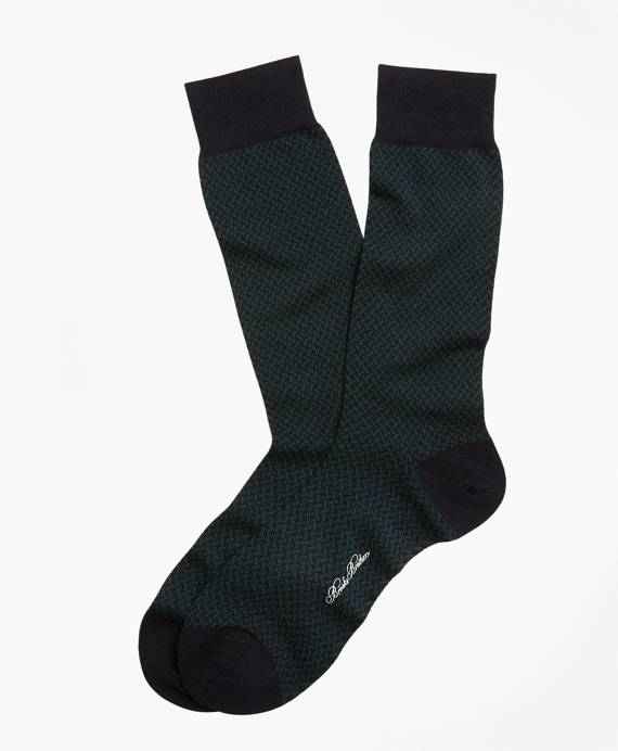 Basketweave Crew Socks Navy-Green