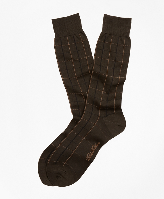 Two-Color Windowpane Crew Socks