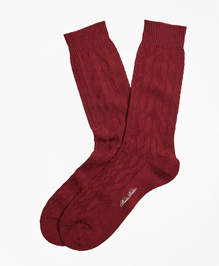 Merino Wool Cable Crew Socks