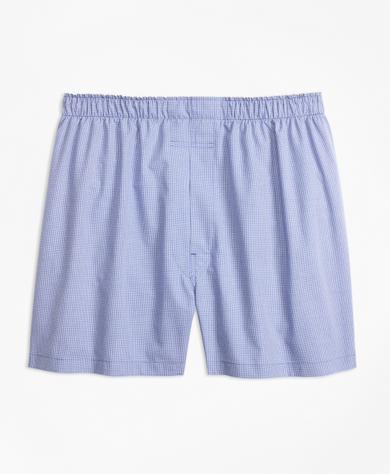 Traditional Fit Micro-Check Boxers Blue