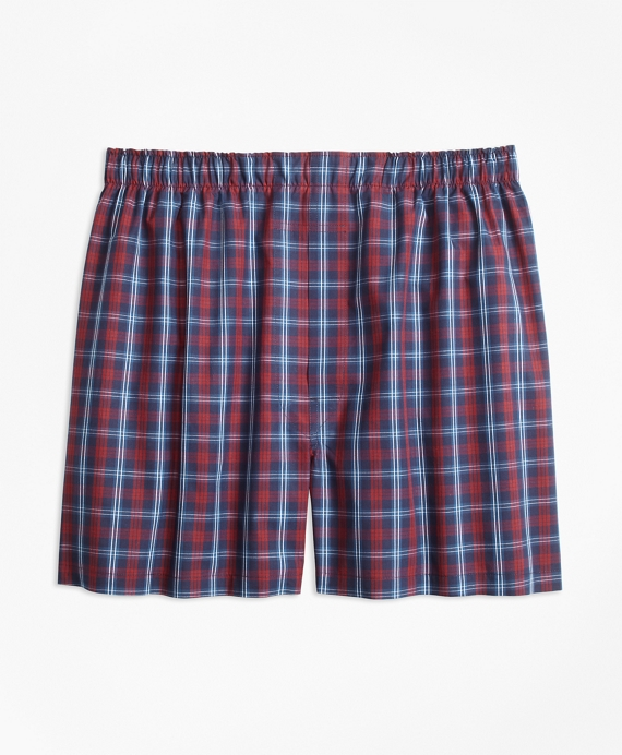 Traditional Fit Tartan Boxers Navy-Red