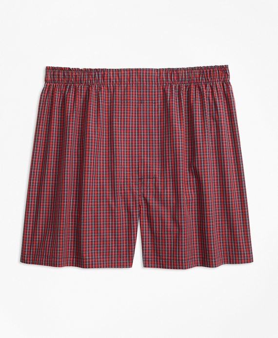 Traditional Fit Mini-Tartan Boxers Red