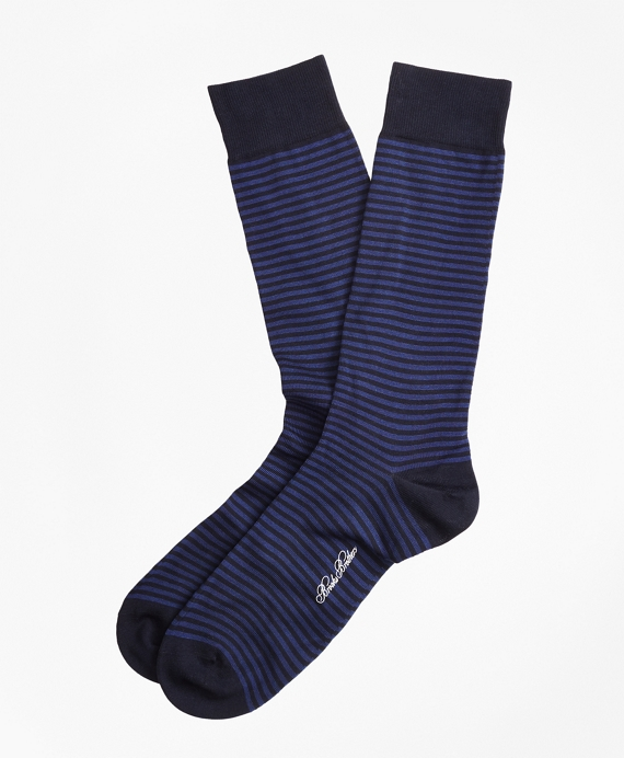 Stripe Crew Socks Navy-Blue