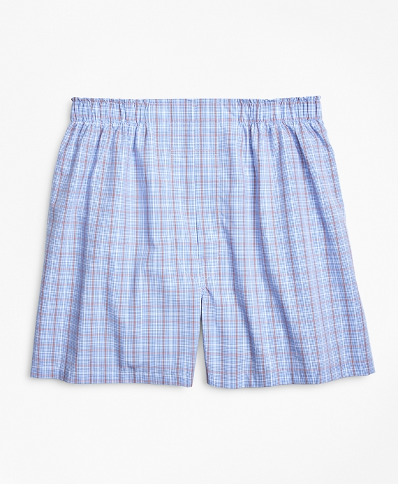 Traditional Fit Double Windowpane Boxers Blue