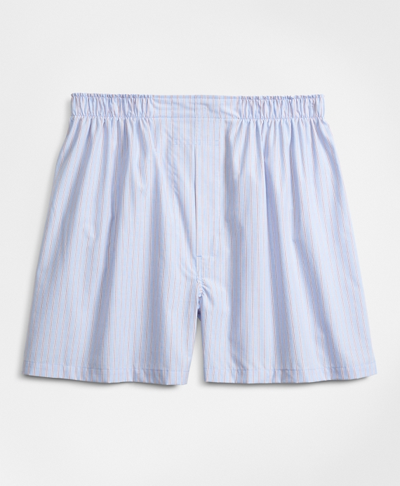 Traditional Fit Railroad Stripe Boxers Blue