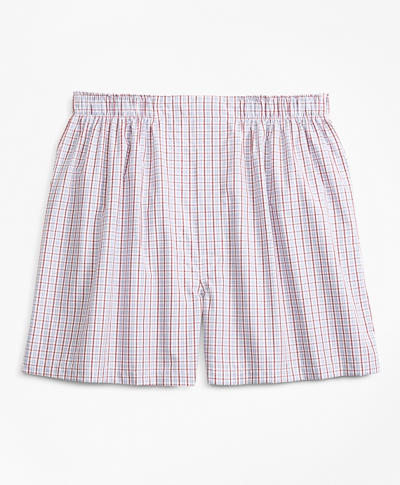 Traditional Fit Alternating Check Boxers Red