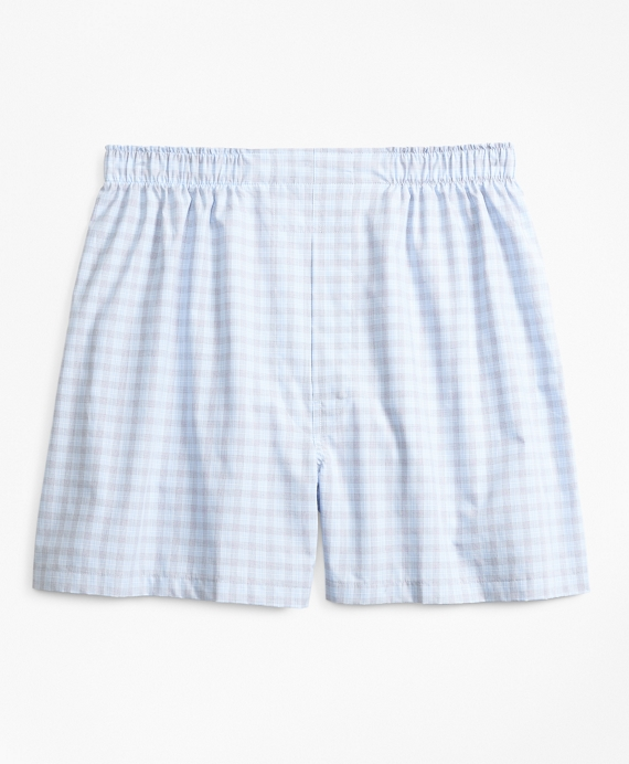 Traditional Fit Check Boxers Blue