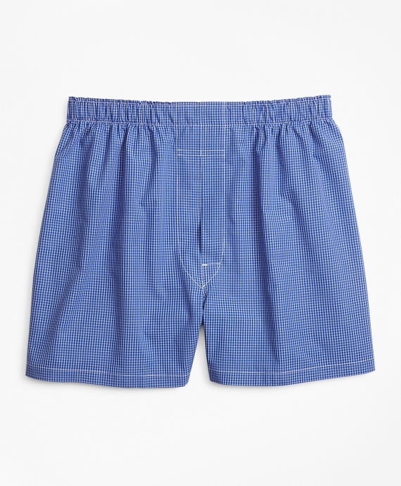 Traditional Fit Ground Check Boxers Blue