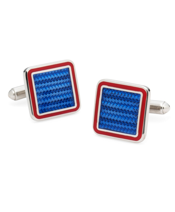 Sterling and Vitreous Enamel Square Cuff Links Blue-Red