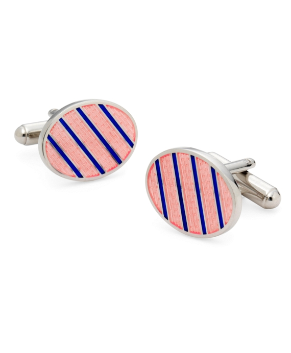Sterling and Vitreous Enamel Stripe Cuff Links Pink