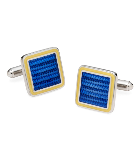 Sterling and Vitreous Enamel Square Cuff Links Blue-Yellow