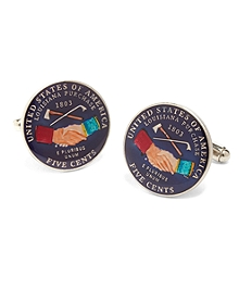 Enamel and Sterling Silver Nickle Coin Cuff Links