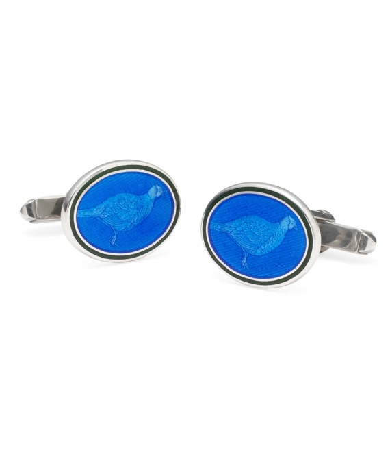 Pheasant Oval Cuff Links Blue