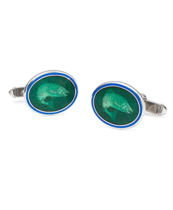 Salmon Oval Cuff Links Green