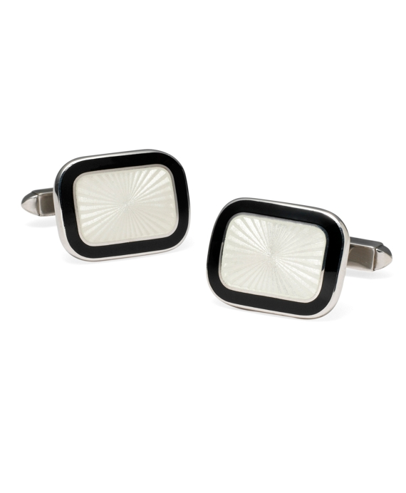 Two-Color Rectangular Cuff Links Ivory-Black