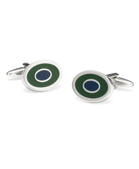Two-Color Oval Cuff Links Green-Navy
