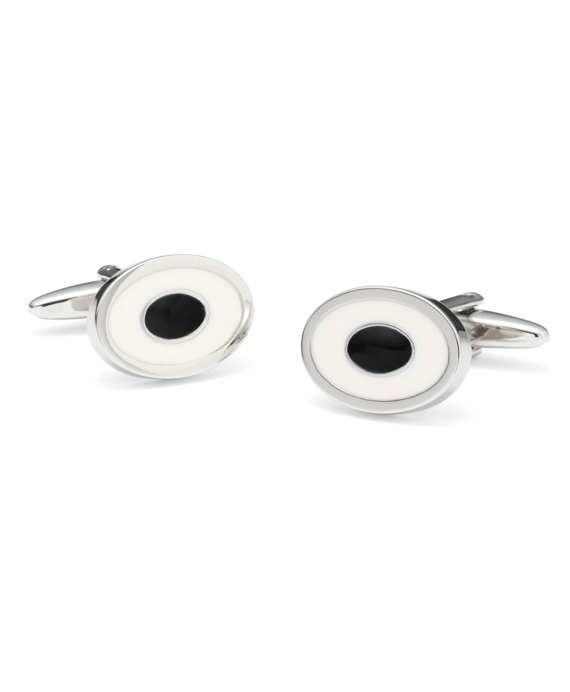 Two-Color Oval Cuff Links Ivory-Black