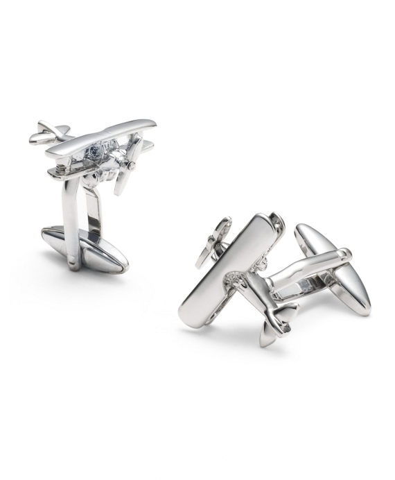 Sterling Bi-Wing Airplane Cuff Links Silver