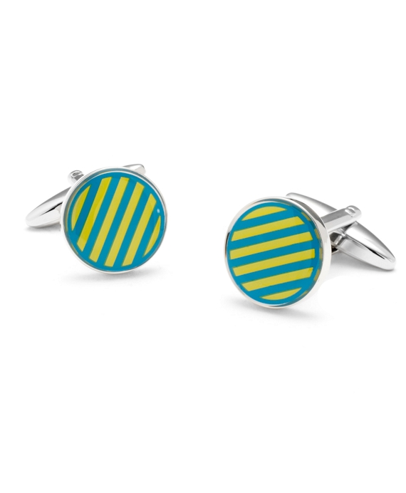 Sterling Small Stripe Enamel Cuff Links Light Blue-Yellow