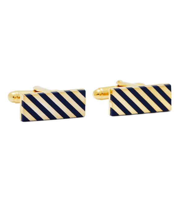 Navy and Gold Diagonal Stripe Rectangular Cuff Links Navy-Gold