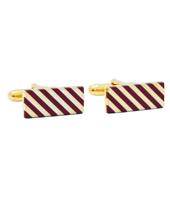 Burgundy and Gold Diagonal Stripe Rectangular Cuff Links Burgundy-Gold