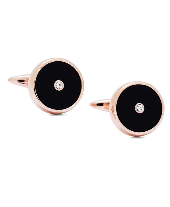 Rose-Gold Plated Circle Cuff Links Black