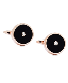 Rose-Gold Plated Circle Cuff Links