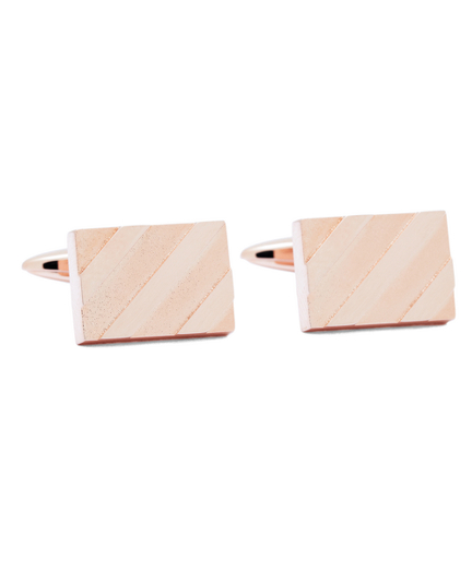 Rose-Gold Plated Diagonal Stripe Cuff Links