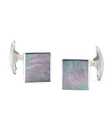 Sterling Silver Mother-of-Pearl Rectangular Cuff Links