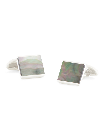 Smoked Mother-of-Pearl Square Cuff Links