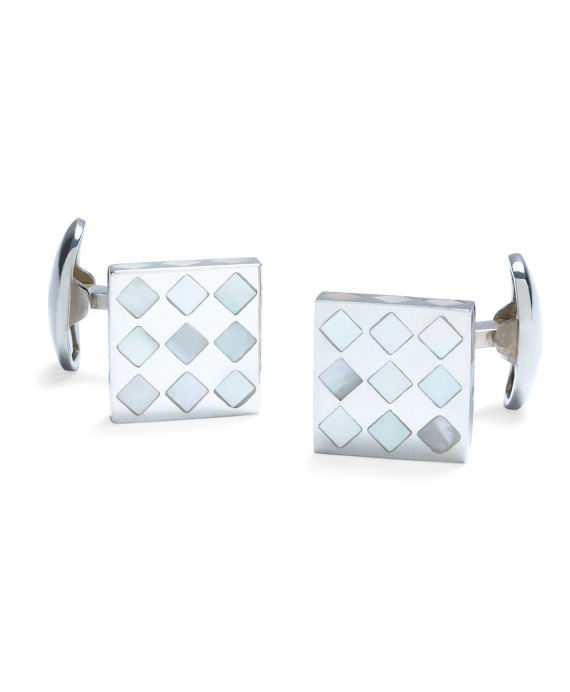 White Diamond Mother-of-Pearl Square Cuff Links White