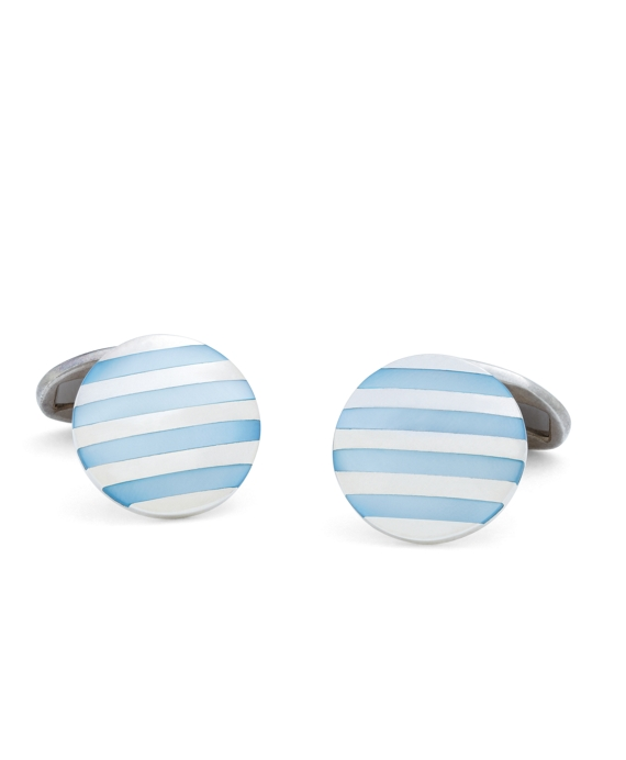Blue Stripe Mother-of-Pearl Cuff Links Blue