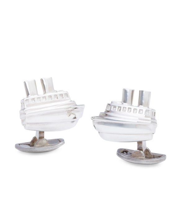 Tug Boat Cuff Links Silver