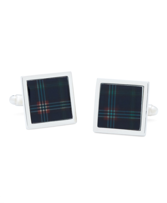 Tartan Square Cuff Links Navy