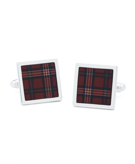 Signature Tartan Square Cuff Links Red