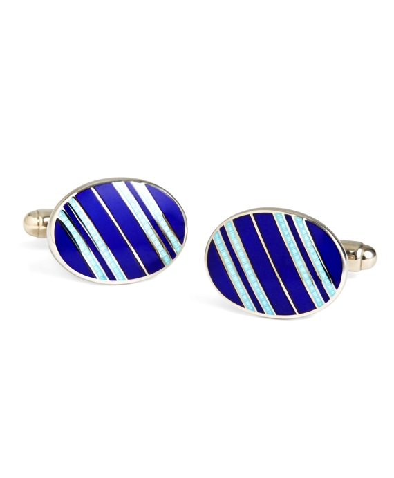 Navy with Light Blue Striped Oval Cuff Links