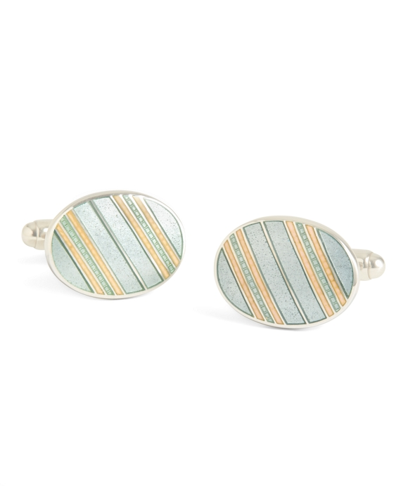 Grey with Light Pink Striped Oval Cuff Links Grey-Light Pink