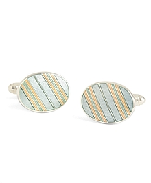 Grey with Light Pink Striped Oval Cuff Links
