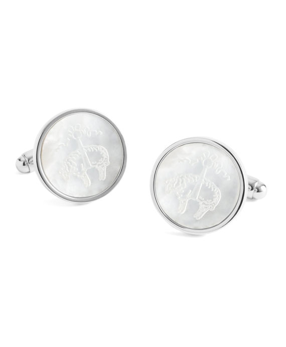 Mother-of-Pearl Etched Golden Fleece® Cuff Links Silver