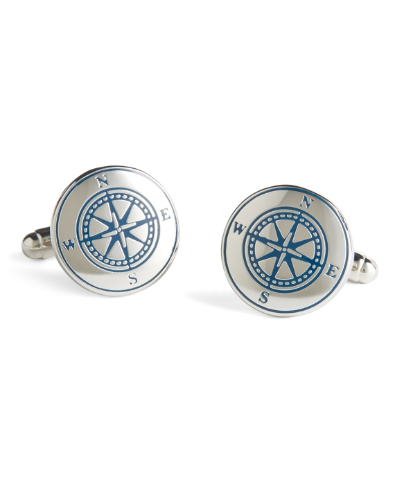 Sterling Silver Compass Cuff Links Silver