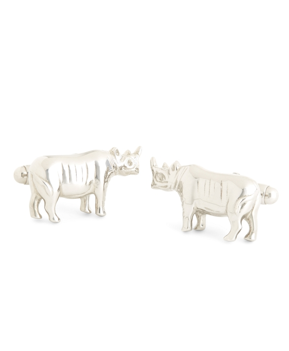 Sterling Silver Rhinoceros Cuff Links Silver