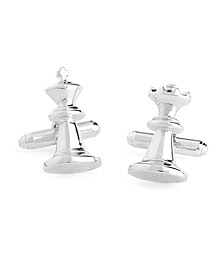 Sterling Silver Chess Piece Cuff Links