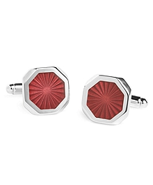 Sterling Silver Burgundy Sunburst Cuff Links