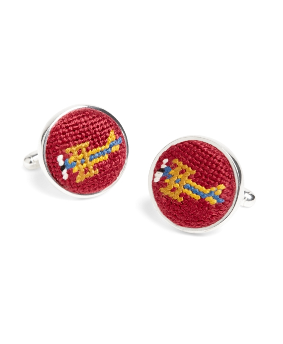 Needlepoint Cufflinks Red