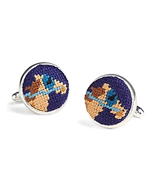 Needlepoint Horse Cuff Links