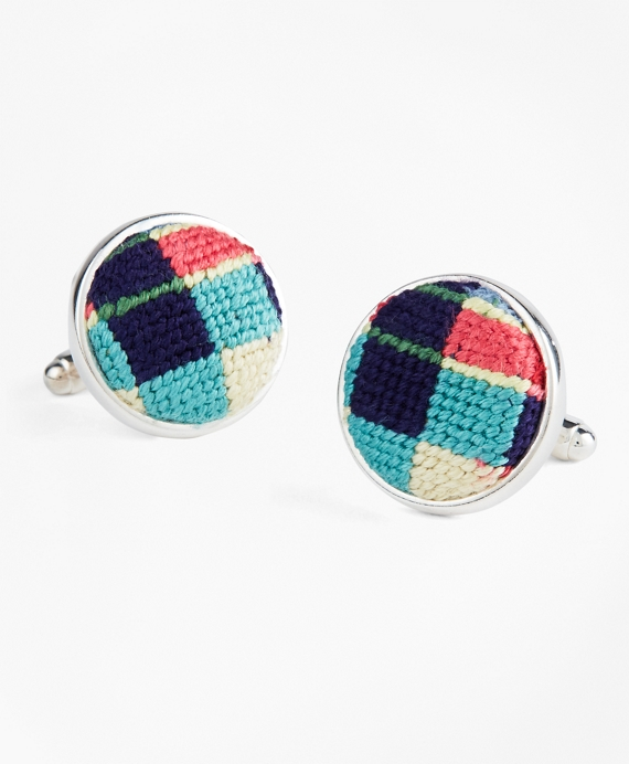 Needlepoint Patchwork Madras Cuff Links Multi