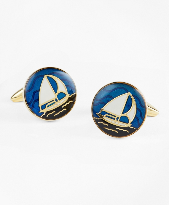 Sailboat Cuff Links Blue