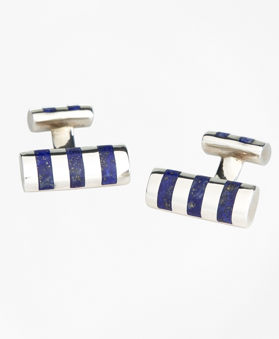 Bar Stripe Cuff Links Blue